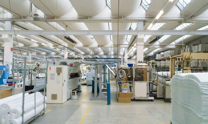 Textilindustrie Produktionshalle Worms